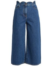 Valentino - Scallop-edged Wide-leg Cropped Jeans - Lyst