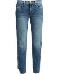 FRAME - Le Nouveau Raw-hem Straight-leg Jeans - Lyst