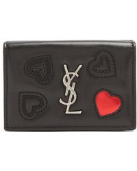 Saint Laurent - Heart-embossed Leather Wallet - Lyst