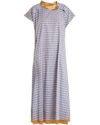 Toga - Check-print Cotton-poplin Dress - Lyst