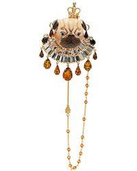 Dolce & Gabbana - Crystal-embellished Pug Brooch - Lyst