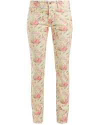 Junya Watanabe - Floral Print Cotton Blend Jeans - Lyst