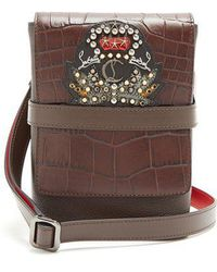 Christian Louboutin - Benech Small Embellished-leather Cross-body Bag - Lyst
