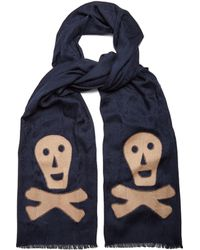 Loewe - Skull Appliqué Logo Jacquard Wool Blend Scarf - Lyst