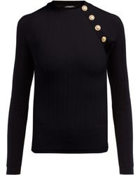 Balmain - Ribbed Wool Blend Top - Lyst