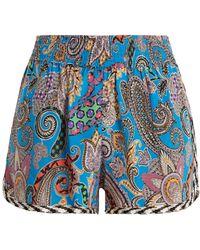 Etro - Graphic Paisley-print Silk-crepe Shorts - Lyst