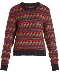 Burberry - Geometric-intarsia- Wool-blend Jumper - Lyst