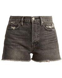 FRAME - Le Original High-rise Distressed Denim Shorts - Lyst