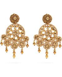 Oscar de la Renta - Dreamcatcher Beaded Clip Earrings - Lyst