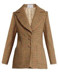 Luisa Beccaria - Hound's Tooth Checked Single Breasted Wool Jacket - Lyst