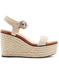 Jimmy Choo - Nylah Crystal-embellished Raffia Platform Sandals - Lyst