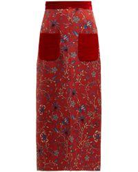 Rebecca de Ravenel - Lily Print Cloqué Skirt - Lyst