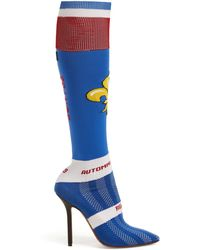Vetements - Fleur De Lis Jacquard Knee High Sock Boots - Lyst