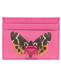 Dolce & Gabbana - Butterfly-print Leather Card Holder - Lyst