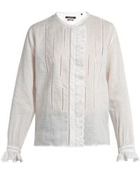 Isabel Marant - Amos Collarless Ruffle-trimmed Blouse - Lyst