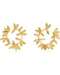 Oscar de la Renta - Dot Leaf Hoop Earrings - Lyst
