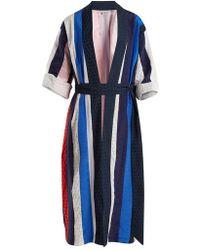 Natasha Zinko - Tie-waist Striped Geometric-jacquard Robe - Lyst