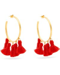 Marte Frisnes - Raquel Gold Plated Tassel Hoop Earrings - Lyst