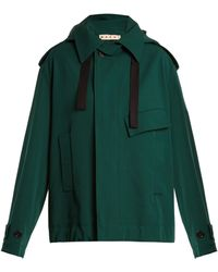 Marni - Oversized Bonded Wool And Cotton Blend Coat - Lyst