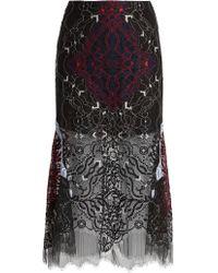 Jonathan Simkhai | Tri-colour Embroidered Lace Midi Skirt | Lyst