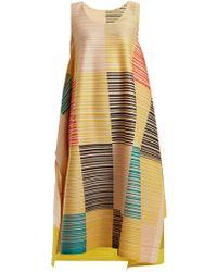 Pleats Please Issey Miyake - Pleated Square-print Dress - Lyst