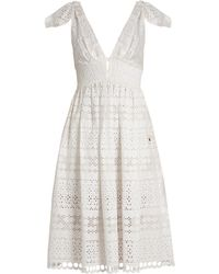 Self-Portrait - Tie-shoulder Broderie-anglaise Dress - Lyst