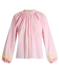 Bliss and Mischief - Ric-rac Trimmed Cotton Blouse - Lyst