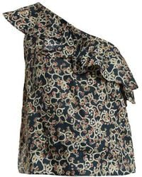 Étoile Isabel Marant - Thom Abstract-print One-shoulder Linen Top - Lyst