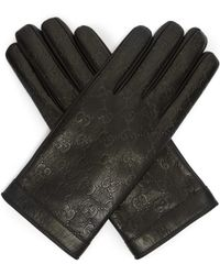Gucci - Logo Debossed Leather Gloves - Lyst