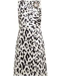 07158432304 CALVIN KLEIN 205W39NYC - Leopard-print Dress With Crushed Bow   Crystal Pin  - Lyst