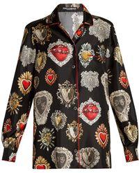 Dolce & Gabbana - Heart-print Point-collar Silk Pyjama Shirt - Lyst
