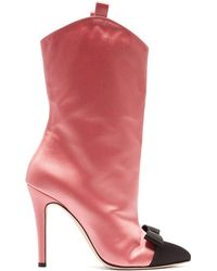 Alessandra Rich - Bow-front Point-toe Satin Ankle Boots - Lyst