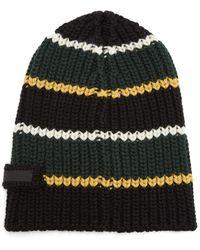 Prada - Striped Virgin-wool Beanie Hat - Lyst