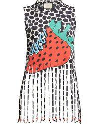 83a9e66c22e3 Gucci - Strawberry Print Cotton Jersey Tank Top - Lyst