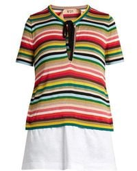 N°21 - Multicoloured Striped Knit Top - Lyst