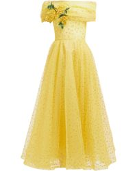Rodarte - Floral Appliqué Polka Dot Tulle Gown - Lyst