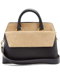 Diane von Furstenberg - Front Flap Satchel Large Leather And Suede Bag - Lyst