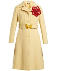 Gucci - Pintucked Butterfly Embellished Belt Coat - Lyst