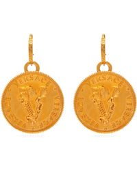 Versace - Wheat Gold Tone Metal Drop Earrings - Lyst