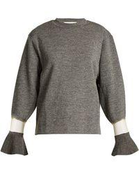 Toga - Flared-cuff Sheer-panel Wool Jumper - Lyst