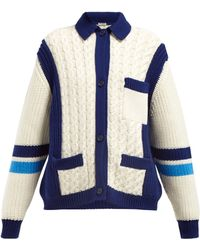 Miu Miu Intarsia Stripe And Cable Knit Wool Cardigan - White