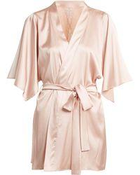 Fleur Of England - - Lace Detail Silk Blend Short Robe - Womens - Light Pink - Lyst
