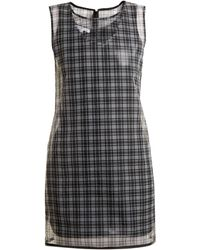 Helmut Lang - Round Neck Checked Semi Sheer Dress - Lyst