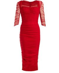 Dolce & Gabbana - Ruched Tulle Midi Dress - Lyst