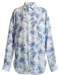Balenciaga - Euro-printed Silk-crepe Shirt - Lyst