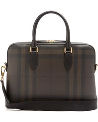 Burberry - Barrow Leather-trimmed Briefcase - Lyst