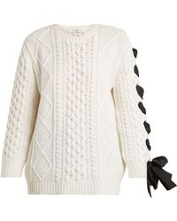 Valentino - Laced Cable Knit Wool Sweater - Lyst