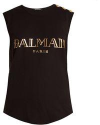 Balmain - Logo-print Cotton-jersey Tank Top - Lyst