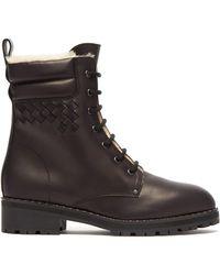 Bottega Veneta - Shearling-lined Leather Combat Boots - Lyst