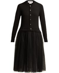 Comme des Garçons - Knitted Wool And Tulle Midi Dress - Lyst